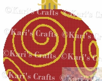 Red and Gold Ball Ornament Afghan Blanket PDF Pattern GRAPH ONLY - Instant Download