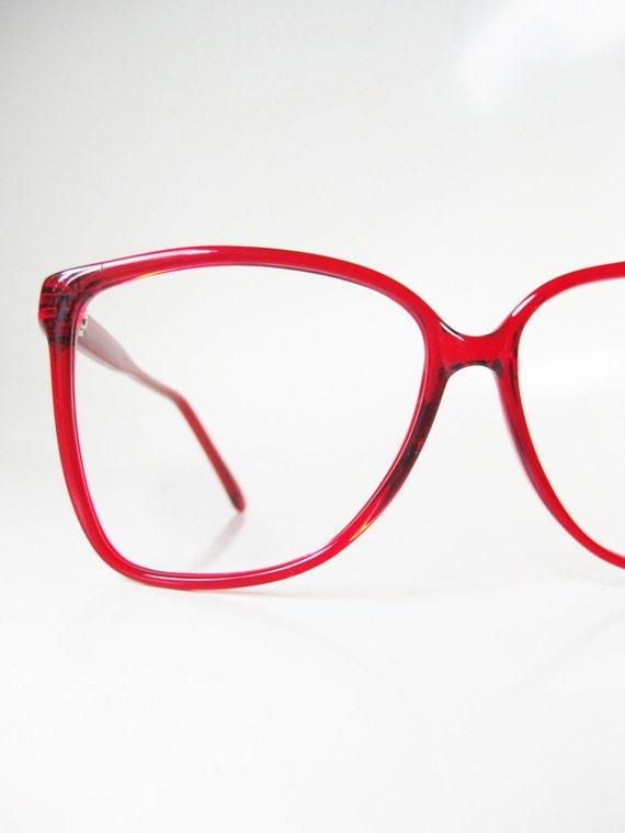 Cherry Red Eyeglasses Womens 1980s Wayfarer Oversized Glasses