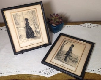 Vintage SILHOUETTE Lithograph Set LINCOLN Martha WASHINGTON Framed Wall Decor Picture