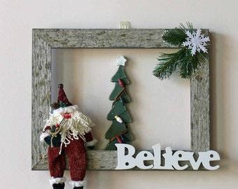 Believe in Santa Weathered Barn Wood Wall Hanging Wreath