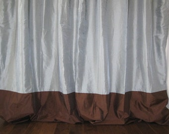 Set of 2 Seafoam Green and Brown Grommet Top Lined Curtain Panels 84 long