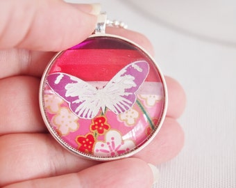 butterfly necklace, pretty butterfly pendant, chiyogami paper necklace for women, hot pink ruby