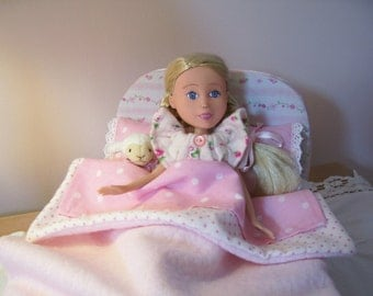 Sweet Little Bed in Shades of Pinks for Bratz Make Under Dolls, Dal Dolls, and Dolls of Similar Size