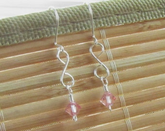 Handmade Drop Earrings Silver and Pink Swarovski Crystal - Jewelry for Women