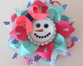 Snowman Bottle Cap Hair Bow Winter Holiday Layered Ribbons with Spikes Unique Creation CreepyandCute.com