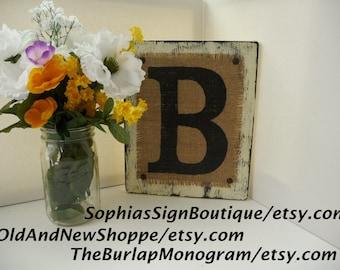 BURALP Monogram Letter B, Ready to Hang, Rustic Burlap Letter B, Primitive Monogram for Cottage Decor, BURLAP Monogram Letter B in Ivory