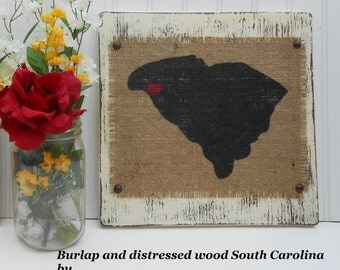 SOUTH CAROLINA Burlap State Sign Ready to Hang, Primitive Rustic Burlap South Carolina Sign Painted Ivory, Hand Distressed Burlap State Sign