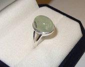 Vintage Sterling Silver and Prehnite Ring Size 5 1/2