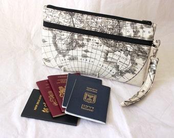 Family Passport Case - Travel Zipper Pouch - Family Passport Holder - World Map Travel Wallet - Travel Organizer - Boarding Pass Wallet