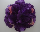 Queenie Large Purple Peony With Pink And Green Accent Flowers Hair Flower