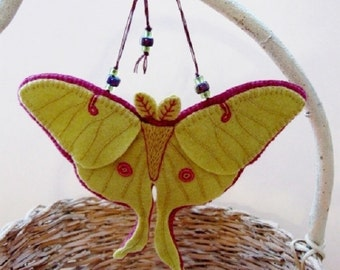 Made to Order - Embroidered Luna Moth Ornament