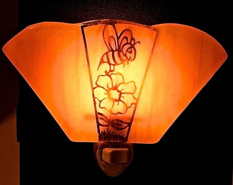 Fused Night Light with Brass Fillagree of Bumble Bee and Flower