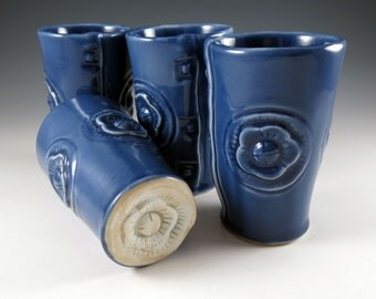 Blue Ceramic Tumbler - Pottery Juice Cup - Wine Tumbler -Ceramic Cup - Handmade Pottery Cup - Organic - Picnic Basket - Sold Singly - 376