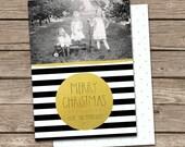 Photo Christmas Card Template: Gold Dot Black & White Stripes Merry Christmas Custom Photo Holiday Card Printable