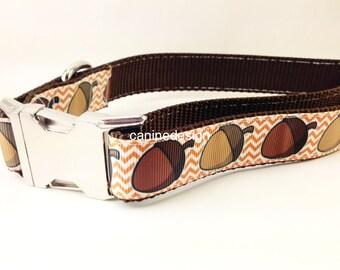 Thanksgiving Dog Collar, Acorn Chevron,1 inch wide, adjustable, quick release, metal buckle, chain, martingale, hybrid, nylon