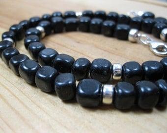 Black Jasper, Sterling Silver Necklace - Mens Beaded Necklace, Mens Gemstone Necklace, Mens Jasper Necklace
