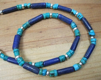Lapis, Turquoise Sterling Silver Necklace, Mens Tribal Necklace, Native American Necklace, Southwestern Necklace, Ethnic Necklace