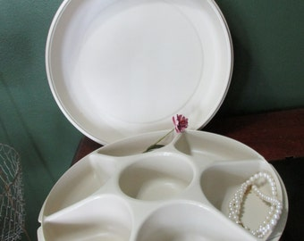 Tupperware Serving Center Tray Almond Storage Container Food or Craft Supplies