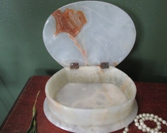 Jewelry Box Agate White and Brown Trinket Chest