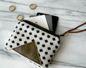Mini wallet / zip pouch / change purse / polka dot pouch / geometric pouch / modern minimalist pouch / gifts for her / gifts under 25