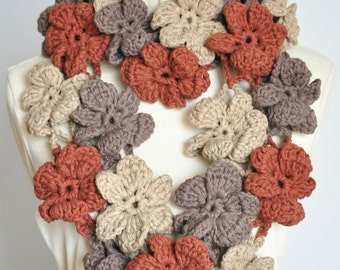 Floral Cotton Infinity - Earth - Crochet Multicolor 3D Flower Infinity Circle Scarf