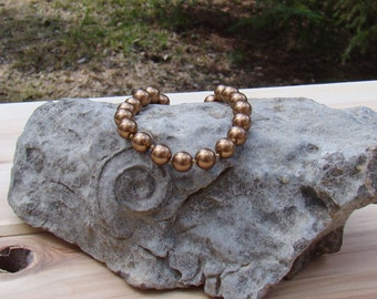 Monet Gold Brown Bead Bracelet Lovely Little Piece Designer Signed Monet
