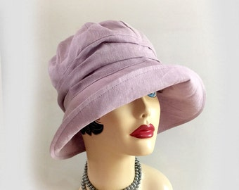 Linen Hat - Lilac Linen - Cloche Hat - Flapper Style Hat - Summer Cloche - Garden Hat - Hat Ready to Ship - Size Small - 1920s Cloche Hat