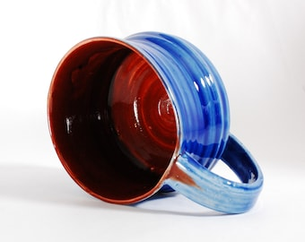 16 oz Mug Wide Mouth Soup Ceramic Red Blue Ceramic Mug Large