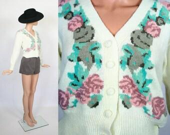Vintage Floral Cardigan / Vegan Angora Sweater / Spring Jacket / Cropped Cardi Jumper / Small
