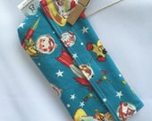 Reusable eco friendly washable Snack Bag - retro rocket babies on blue