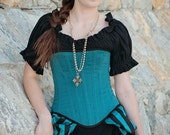 Short sleeve shirt, Chemise, Black, Cotton, Steampunk, Renaissance, Clothing