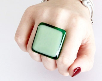 Fused Glass Jewelry Cocktail Ring - bold ring, handmade ring, adjustable ring, statement ring, Studioleanne