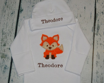 PERSONALIZED Fox Infant Gown and cap set