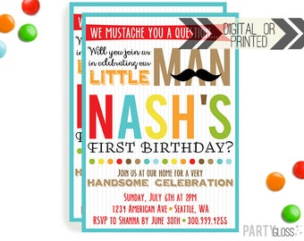Little Man Mustache Invitation - Digital or Printed | Little Man Printables | Mustache Birthday Party Invitation | Mustache Invitation