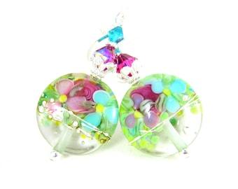 Pastel Floral Earrings, Pink Teal Fuchsia Yellow Green Glass Earrings, Colorful Chintz Earrings, Nature Earrings, Lampwork Earrings, Flowers