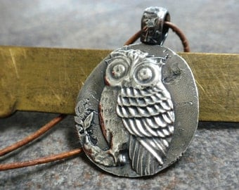 Owl Jewelry Silver Owl Pendant Woodland Animal