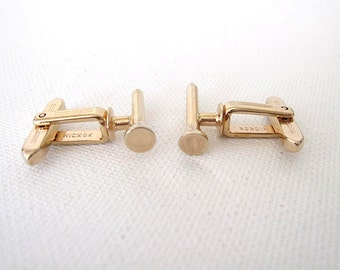 Vintage Hickok Cuff Links Golf Tees Gold Metal