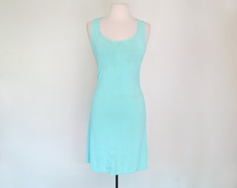 BLUE CURACAO // aqua stretchy crossback 90s mini dress