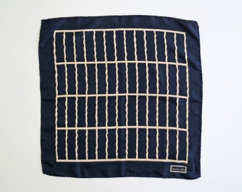 GRID // navy silk Christian Dior scarf with white grid pattern