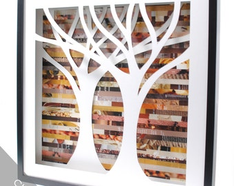 tree shadowbox, symmetrical- made from recycled magazines, nature, wall art, unique