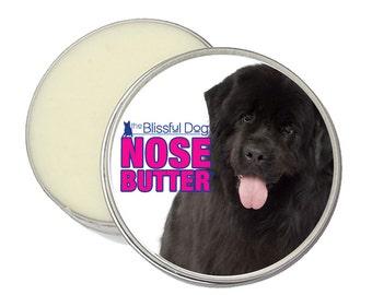 Newfoundland Dog ORIGINAL NOSE BUTTER® Handcrafted Organic Balm for Dry Crusty Dog Noses 8 oz Tin Black or Landseer Newfie Label Gift Bag
