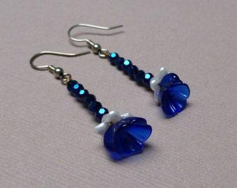 Cobalt Blue Vintage Glass Flower Earrings. Long Drop Earrings. Czech Glass Earrings. Dangle Earrings. Nature. Garden. Handmade Jewelry.