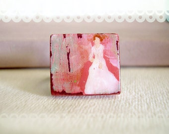 Original Art Ring Victorian Lady Adjustable Scrabble Tile - The Bride in Vintage White.