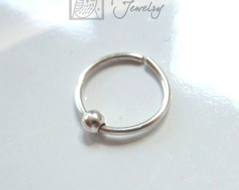 18 gauge 10mm Silver Cartilage Hoop with Bead over 10mm ID Sterling