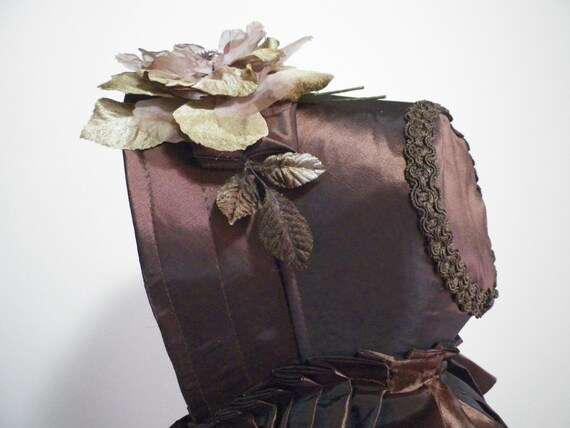 Regency Jane Austen Victorian Civil War Dickens 1800's Wild West  Custom Made Spoon Bonnet with Frothy Lace Trim