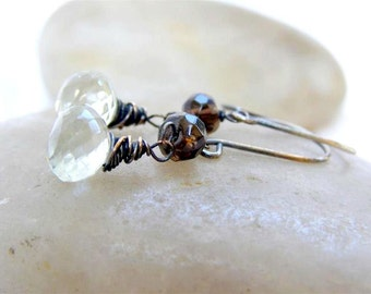 Green Amethyst  Earrings , Smoky Quartz Earrings , Oxidized Sterling  Silver Earrings , February Birthstone , Prasiolite Earrings