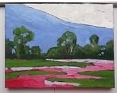 Impressionist CALIFORNIA Plein Air WILDFLOWERS EUCALYPTUS Lynne French 11x14