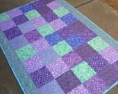 Lavender Lap Quilt Teal Lap Quilt Purple Quilt Throw Quilt Blanket Purple Bedding