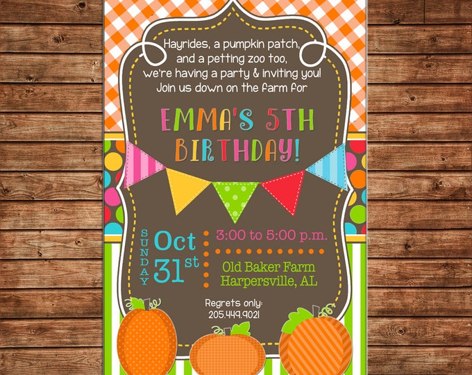 Boy or Girl Invitation Pumpkin Patch Fall Halloween Birthday Party - Can personalize colors /wording - Printable File or Printed Cards