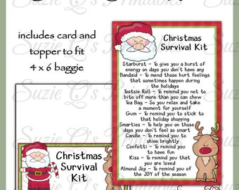 Christmas Survival Kit includes Topper and Card - Digital Printable - Immediate Download